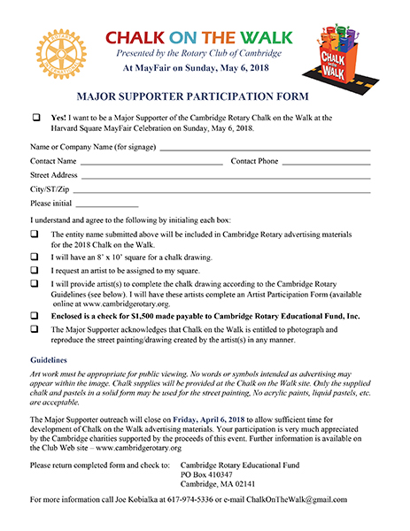 2018 Chalk on the Walk Major Supporter Form